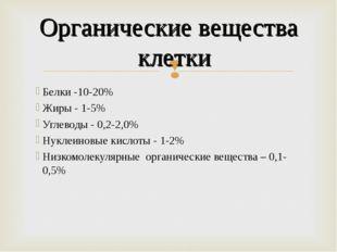 Белки -10-20% Жиры - 1-5% Углеводы - 0,2-2,0% Нуклеиновые кислоты - 1-2% Низк