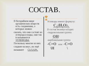 СОСТАВ. В бескрайнем мире органических веществ есть соединения, о которых мож