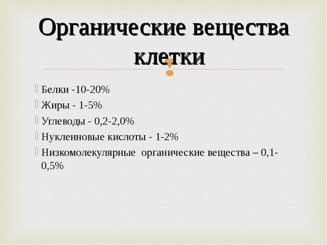 Белки -10-20% Жиры - 1-5% Углеводы - 0,2-2,0% Нуклеиновые кислоты - 1-2% Низк...
