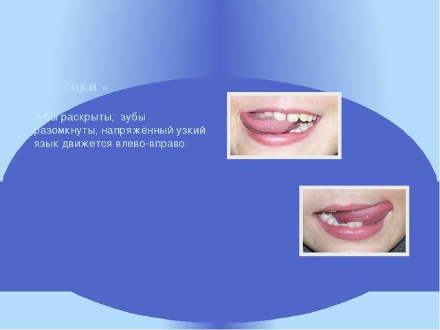 губы раскрыты, зубы разомкнуты, напряжённый узкий язык движется влево-вправо...