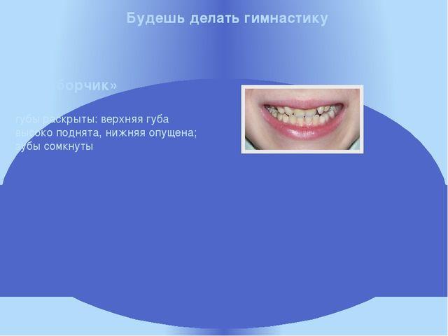 губы раскрыты: верхняя губа высоко поднята, нижняя опущена; зубы сомкнуты Бу...