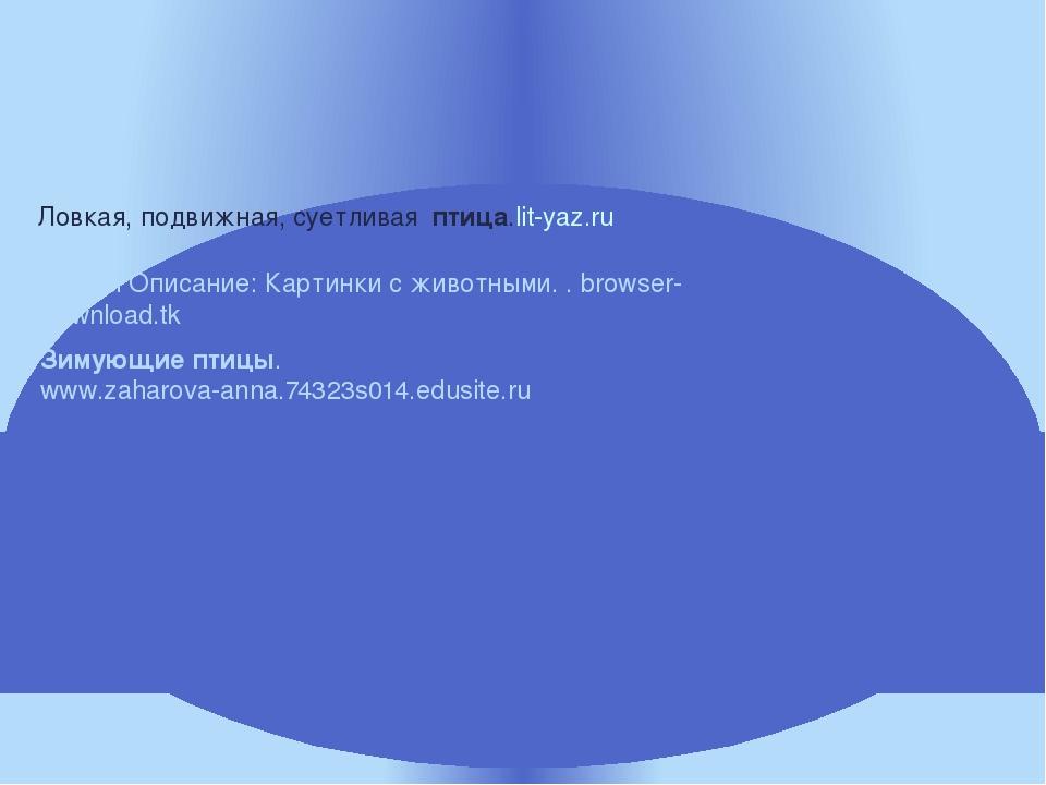 Ловкая, подвижная, суетливая птица.lit-yaz.ru Зимующиептицы. www.zaharova-an...
