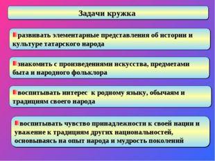 развивать элементарные представления об истории и культуре татарского народа