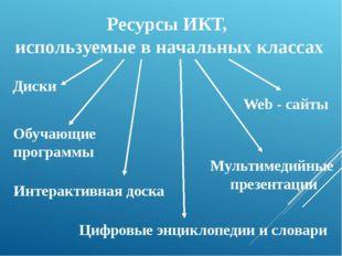 Ресурсы ИКТ, используемые в начальных классах Диски Мультимедийные презентаци
