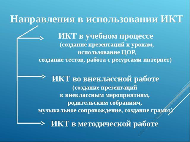 Направления в использовании ИКТ ИКТ в учебном процессе (создание презентаций...