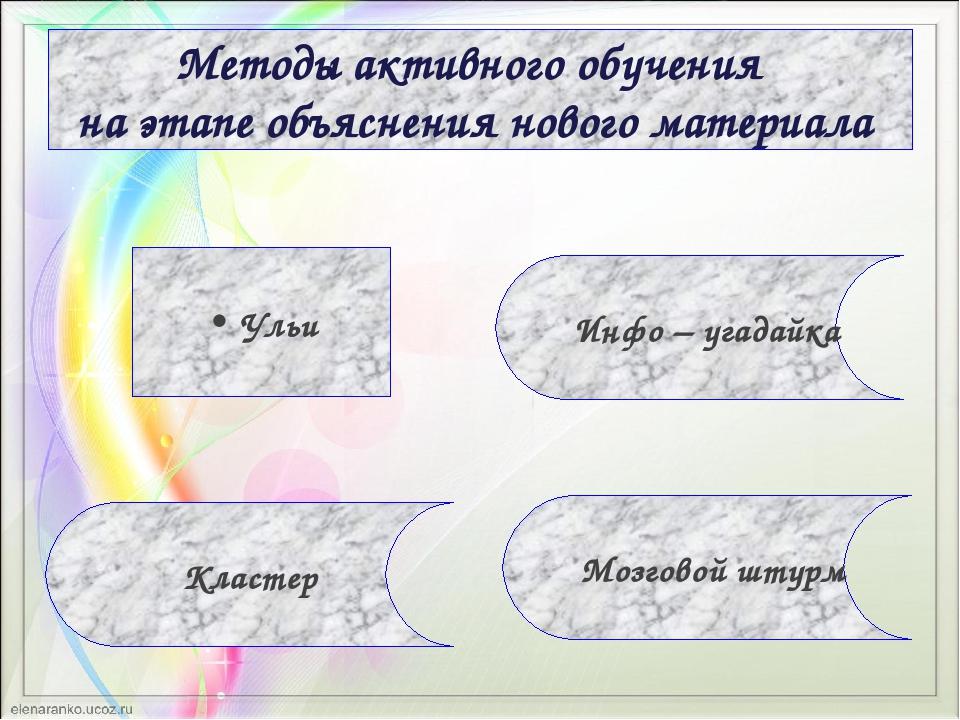 Методы активного обучения на этапе объяснения нового материала Кластер Инфо –...