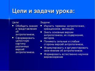 Цели и задачи урока: Цели: Обобщить знания и представления об антропогенезе,