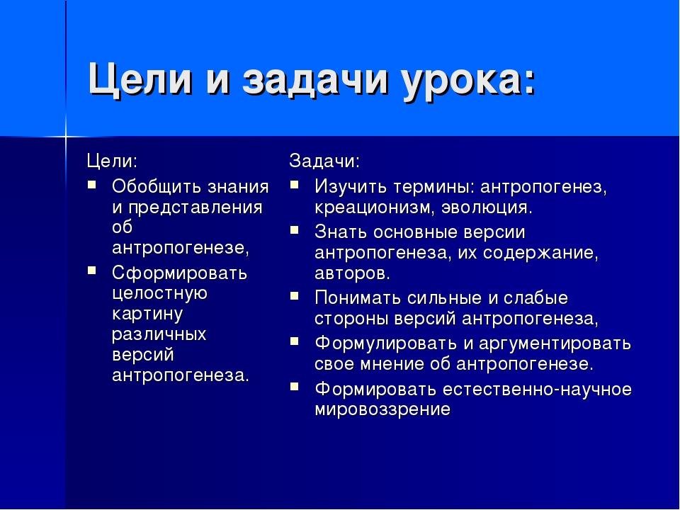 Цели и задачи урока: Цели: Обобщить знания и представления об антропогенезе,...