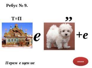 Ребус № 9. ответ Перем е щен ие Т=П ,, е +е