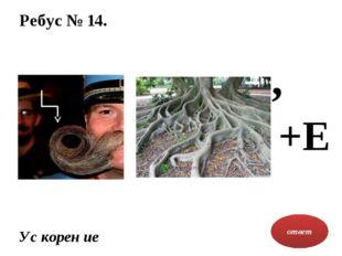 Ребус № 14. ответ Ус корен ие , +Е