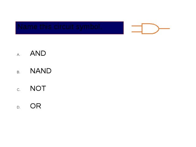 Name this circuit symbol. AND NAND NOT OR