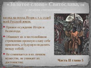 взгляд на поход Игоря с т.з. судеб всей Русской земли. Прямое осуждение Игоря