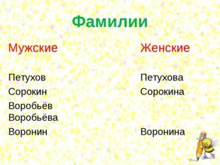 Фамилии МужскиеЖенские Петухов Петухова СорокинСорокина Воробьё