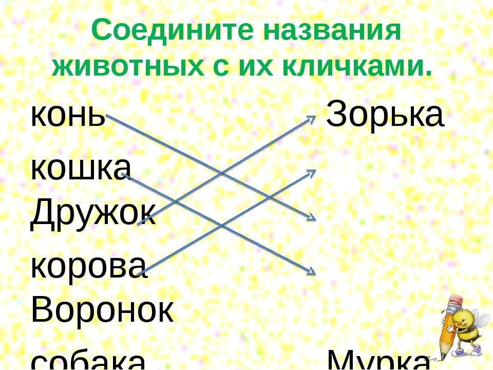 Соедините названия животных с их кличками. конь Зорька кошка Дружок...