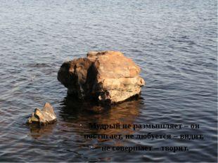 Мудрый не размышляет – он постигает, не любуется – видит, не совершает – твор