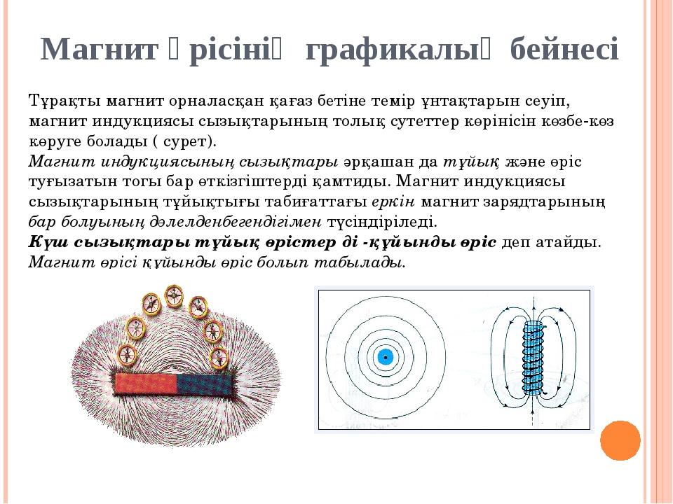 Магнит өрісінің графикалық бейнесі Тұрақты магнит орналасқан қағаз бетiне тем...