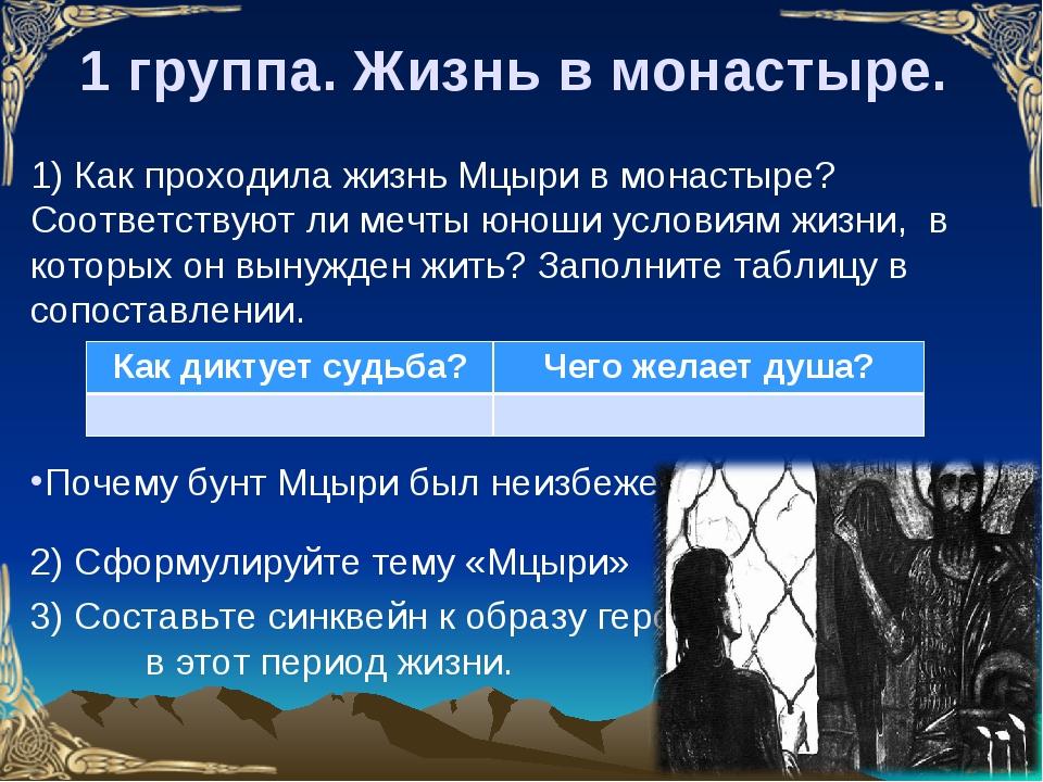 1 группа. Жизнь в монастыре. 1) Как проходила жизнь Мцыри в монастыре? Соотве...
