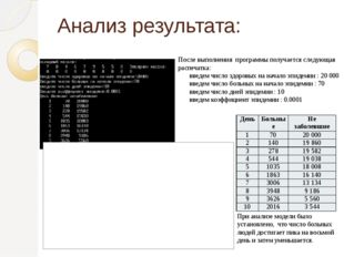 Анализ результата: После выполнения программы получается следующая распечатка