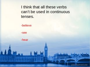 I think that all these verbs can't be used in continuous tenses. -believe -se