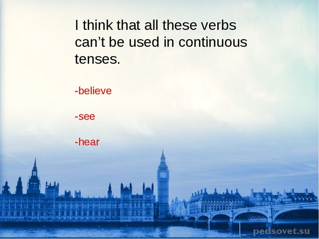 I think that all these verbs can't be used in continuous tenses. -believe -se...