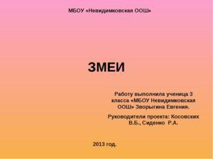 ЗМЕИ Работу выполнила ученица 3 класса «МБОУ Невидимковская ООШ» Зворыгина Ев
