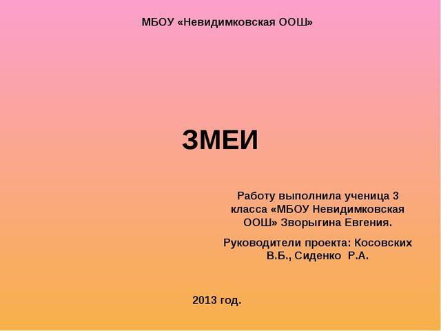 ЗМЕИ Работу выполнила ученица 3 класса «МБОУ Невидимковская ООШ» Зворыгина Ев...