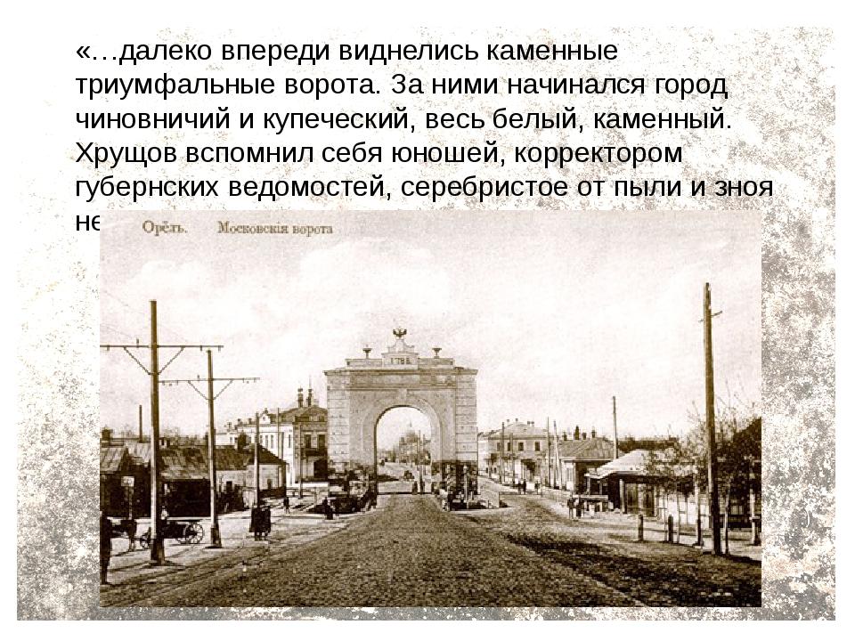 «…далеко впереди виднелись каменные триумфальные ворота. За ними начинался го...