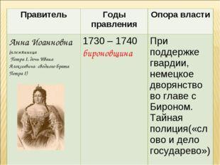 ПравительГоды правленияОпора власти Анна Иоанновна (племянница Петра I, доч