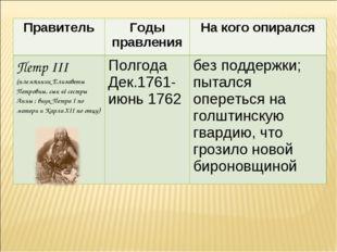 ПравительГоды правленияНа кого опирался Петр III (племянник Елизаветы Петро