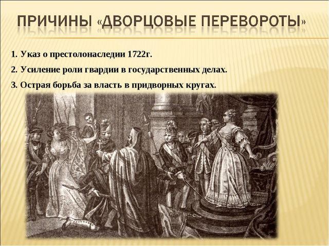 1. Указ о престолонаследии 1722г. 2. Усиление роли гвардии в государственных...