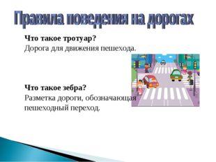 Что такое тротуар? Дорога для движения пешехода. Что такое зебра? Разметка до