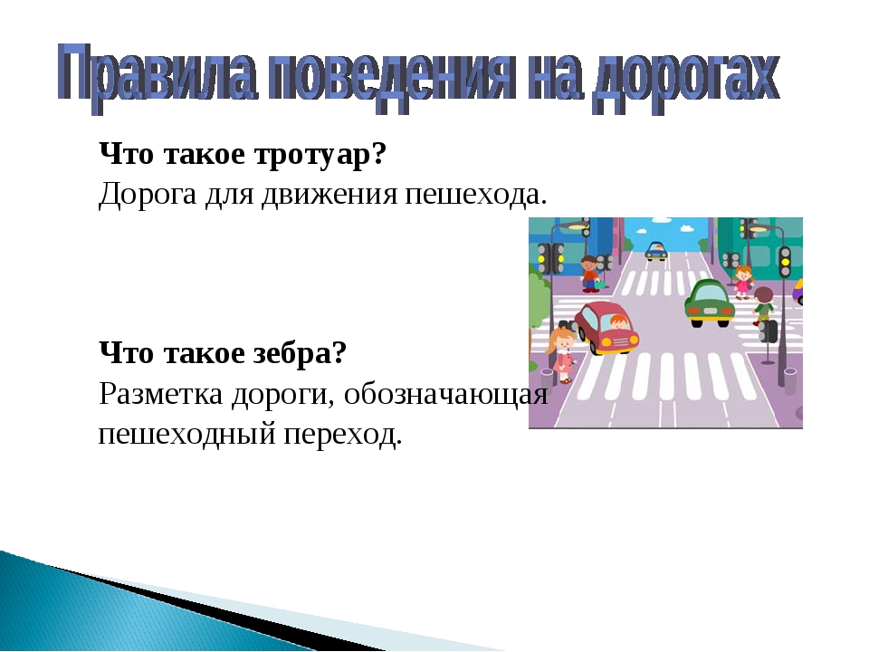 Что такое тротуар? Дорога для движения пешехода. Что такое зебра? Разметка до...
