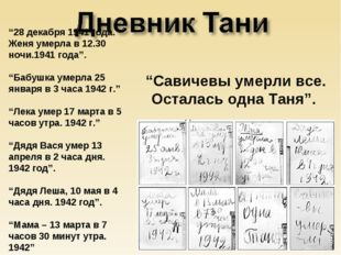 """28 декабря 1941 года. Женя умерла в 12.30 ночи.1941 года"". ""Бабушка умерла 2"