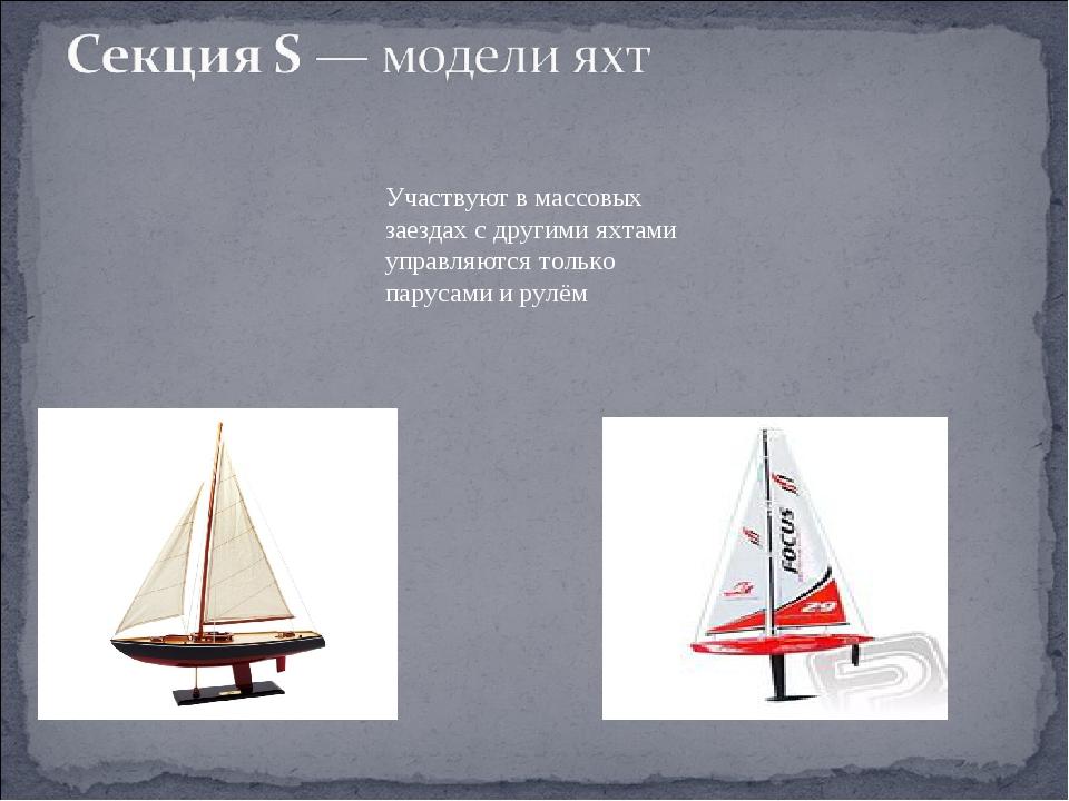 Участвуют в массовых заездах с другими яхтами управляются только парусами и р...