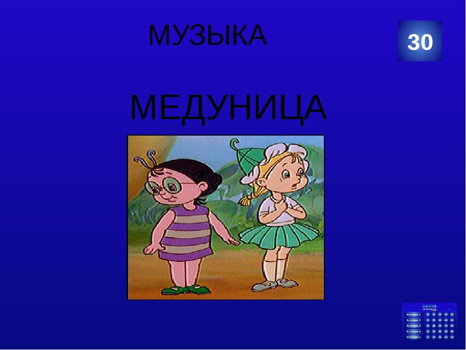 МУЗЫКА МЕДУНИЦА 30 Категория Ваш ответ