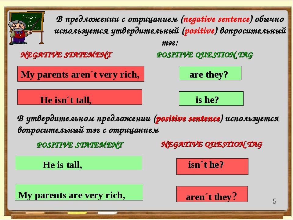: POSITIVE STATEMENT В предложении с отрицанием (negative sentence) обычно и...