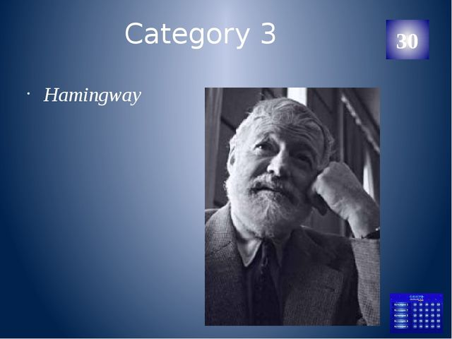 Category 3 He was a poet. He became the first American to be honoured with a...