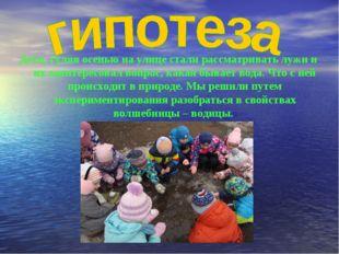 Дети, гуляя осенью на улице стали рассматривать лужи и их заинтересовал вопро