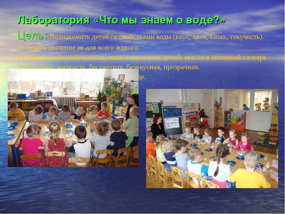 Лаборатория «Что мы знаем о воде?» Цель: Познакомить детей со свойствами воды...