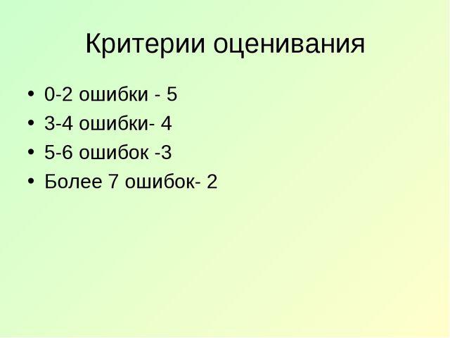 Критерии оценивания 0-2 ошибки - 5 3-4 ошибки- 4 5-6 ошибок -3 Более 7 ошибок...