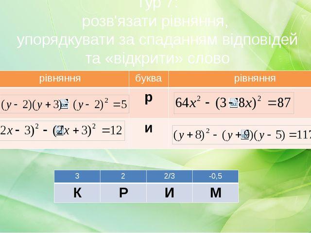 Тур 7: розв'язати рівняння, упорядкувати за спаданням відповідей та «відкрити...