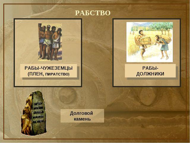 РАБСТВО РАБЫ-ЧУЖЕЗЕМЦЫ (ПЛЕН, ПИРАТСТВО) РАБЫ- ДОЛЖНИКИ Долговой камень