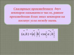 Скалярным произведением двух векторов называется число, равное произведению д