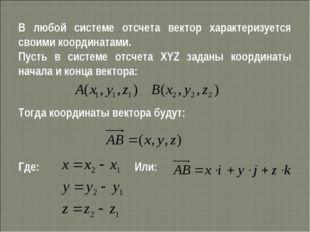 В любой системе отсчета вектор характеризуется своими координатами. Пусть в с