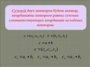 Суммой двух векторов будет вектор, координаты которого равны суммам соответст