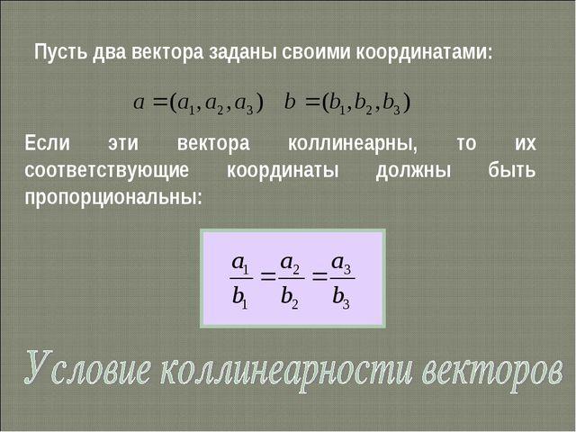 Пусть два вектора заданы своими координатами: Если эти вектора коллинеарны, т...
