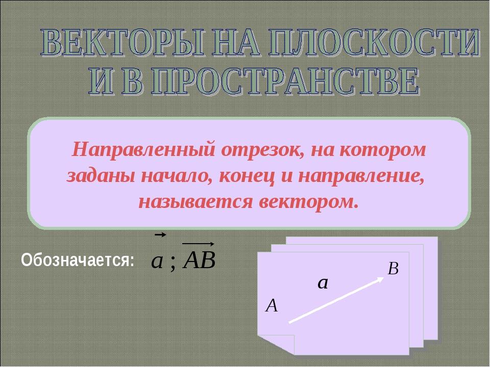 Обозначается: Направленный отрезок, на котором заданы начало, конец и направл...