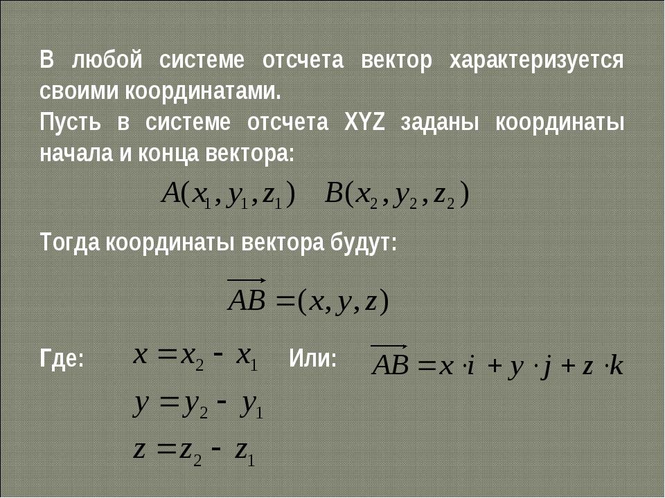В любой системе отсчета вектор характеризуется своими координатами. Пусть в с...
