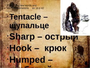 Presenting new words and word- combinations ex 1b p 42 Tentacle – щупальце Sh