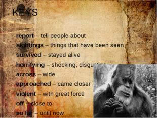 KEYS report – tell people about sightings – things that have been seen surviv